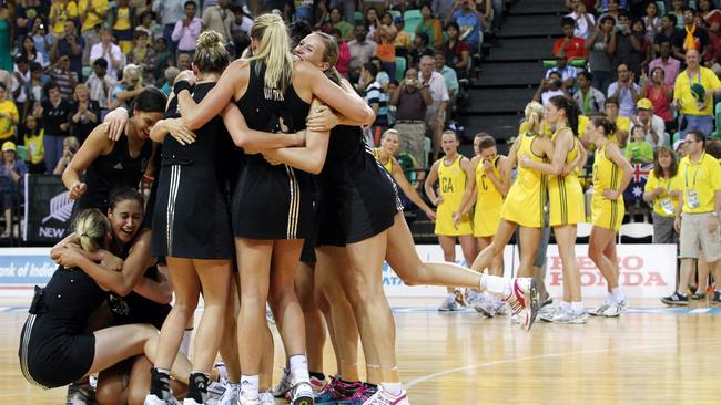 New Zealand celebrate after beating Australia in overtime in the 2010 final.