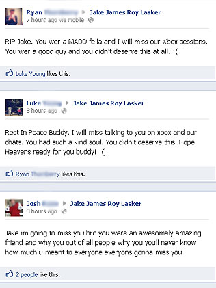 Facebook tributes to Jake Lasker
