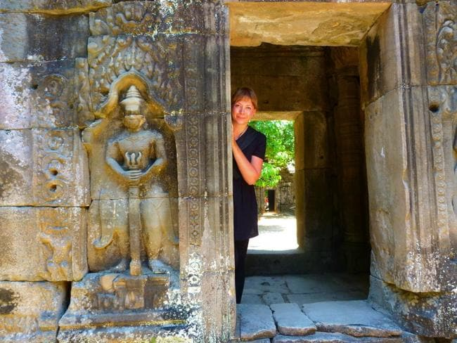 Alice carried on as normal, exploring the temple ruins in Siem Reap, Cambodia the day after visiting the clinic.