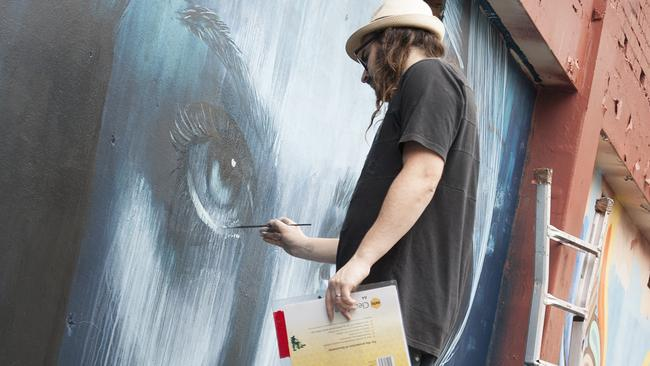 TRYP 2: Street artist, Rone pictured working on his art, which will feature throughout TRYP Fortitude Valley.