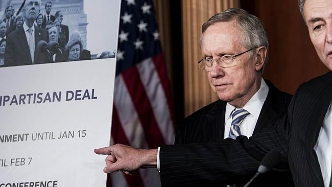 Senate Majority Leader Senator Harry Reid showed great negotiating skills to nut out a deal with Mitch McConnell. Picture: AFP Brendan, Smialowski.