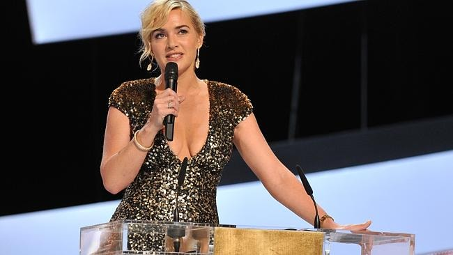 Kate Winslet delivers a speech as she is awarded with the Cesar of Honour during the 37th Cesar Film Awards at Theatre du Ch...