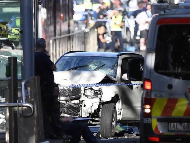 The smashed car was said to be travelling around 100km an hour. Picture: AAP Image/Joe Castro