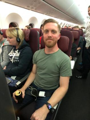 Jacob was the first reporter to take on the epic 17-hour flight in economy class. Photo: The Sun