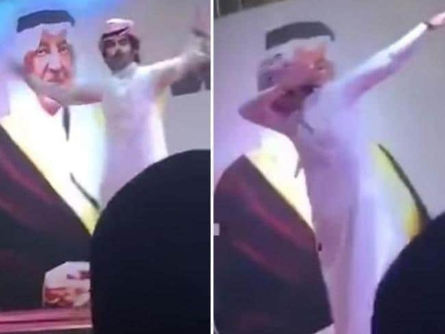 Saudi singer caught on camera dabbing.