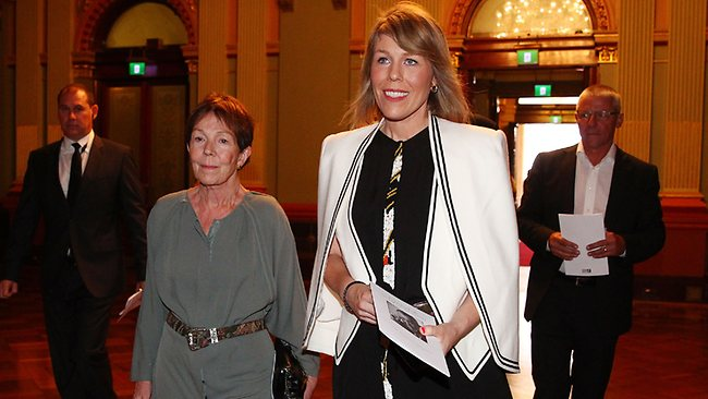 Anne Harvey and Claire Harvey arrive for the public memorial for Peter Harvey at Sydney Town Hall today. (Photo by Don Arnold/Getty Images)