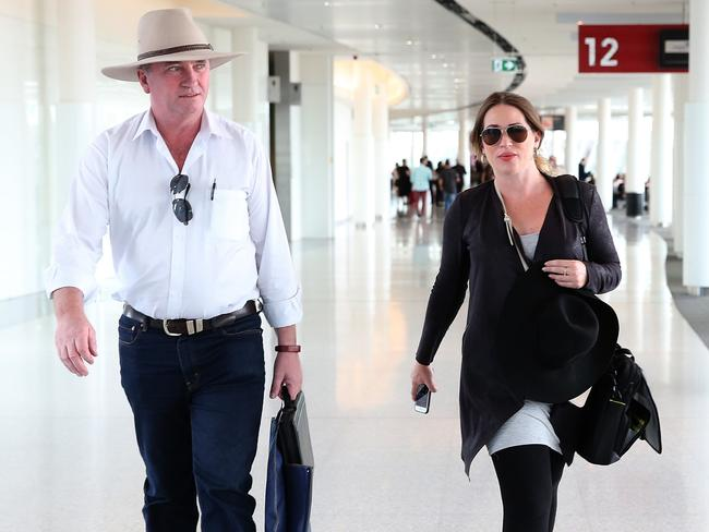 Barnaby Joyce and his pregnant partner Vikki Campion pictured at Canberra airport. Picture: Kym Smith