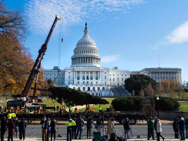 A crane lifts the Christmas tree as it arrives at the US Capitol in Washington, DC. Picture: AFP/Jim Watson