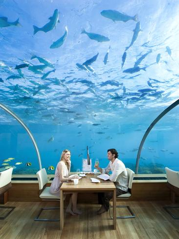 "The Ithaa Undersea Restaurant, part of the Conrad Maldives Rangali Island resort was the world's first all-glass undersea restaurant. It sits 5m below the surface and offers panoramic 180-degree views. Picture:  <a href=""http://conradhotels3.hilton.com/en/hotels/maldives/conrad-maldives-rangali-island-MLEHICI/index.html"" target=""_blank"">Conrad Maldives Rangali Island</a>"