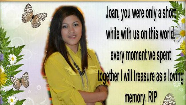 "A tribute to Logan murder victim Joan Canino Ryther posted by a family member. Joan's husband Cory responded with ""I will never get over you my love""."