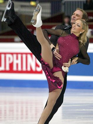 Tatyana Navka with her then dance partner Roman Kostomarov, pictured at the World Figure Skating Championships in Dortmund in 2004, is a popular figure in Russia. Picture: AP