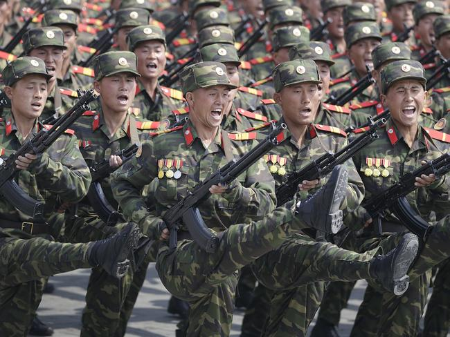 Soldiers march across Kim Il-sung Square during a military parade in Pyongyang, North Korea, on April 15. Picture: AP Photo/Wong Maye-E