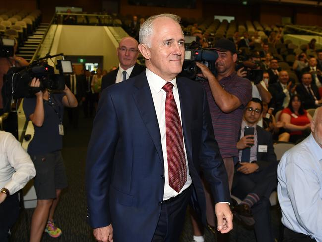 Prime Minister Malcolm Turnbull arrives to give the Lachlan Macquarie lecture at the Out There Summit at Western Sydney University, Parramatta, in Sydney on Friday. Picture: AAP Image/Dan Himbrechts