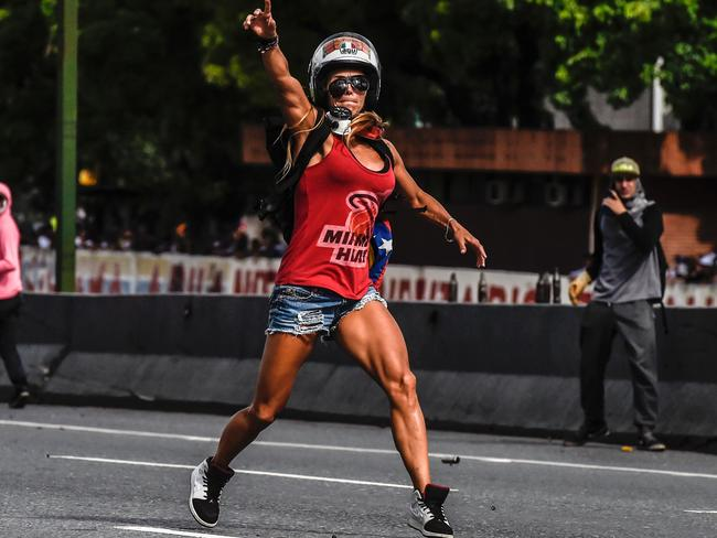 Caterina Ciarcelluti, a protestor against Venezuelan President Nicolas Maduro, made headlines in May for taking a brave stance. Picture: Juan Barreto