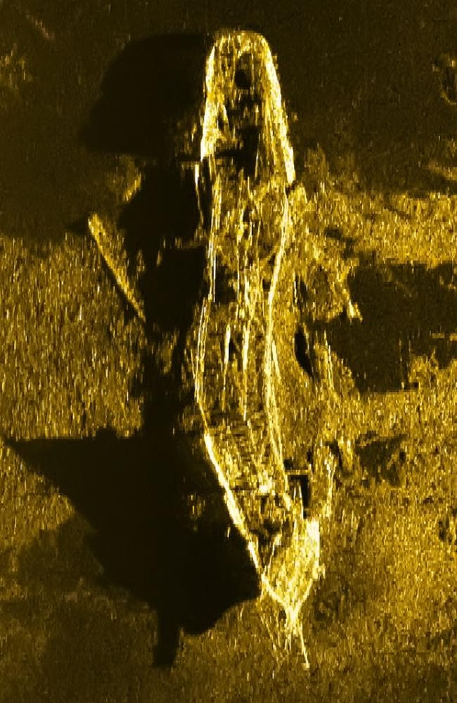 One of the stunning sonar images of the wreck believed to be the SV Inca, which vanished en route from South America to Australia in 1911. Picture: ATSB
