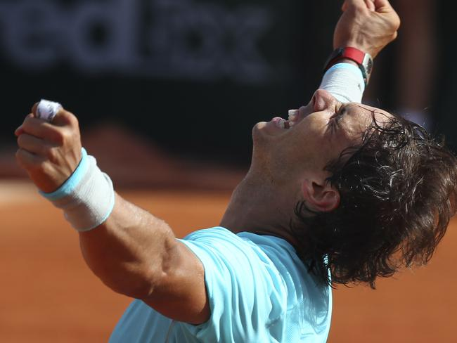 Nadal celebrates winning through to another French Open final. Picture: David Vincent