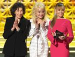 Lily Tomlin, Dolly Parton and Jane Fonda speak onstage during the 69th Annual Primetime Emmy Awards at Microsoft Theater on September 17, 2017 in Los Angeles, California. Picture: Getty