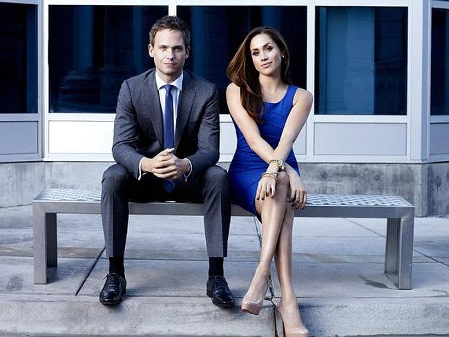 Patrick J. Adams as Mike Ross, Meghan Markle as Rachel Zane.