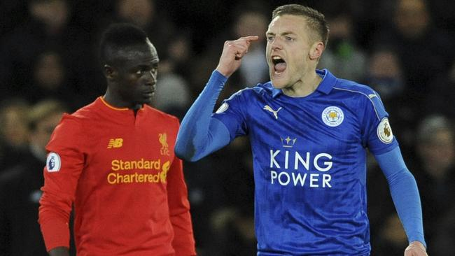 Leicester's Jamie Vardy gestures after scoring during the English Premier League soccer match between Leicester City and Liverpool at the King Power Stadium in Leicester, England, Monday, Feb. 27, 2017. (AP Photo/Rui Vieira)
