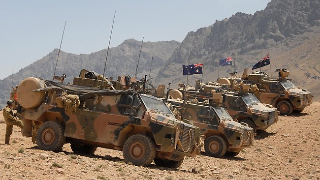 Australian Bushmasters provide security at the site for the new Forward Operating Base (FOB), at the entrance to the Baluchi Valley, Afghanistan. Picture: Defence