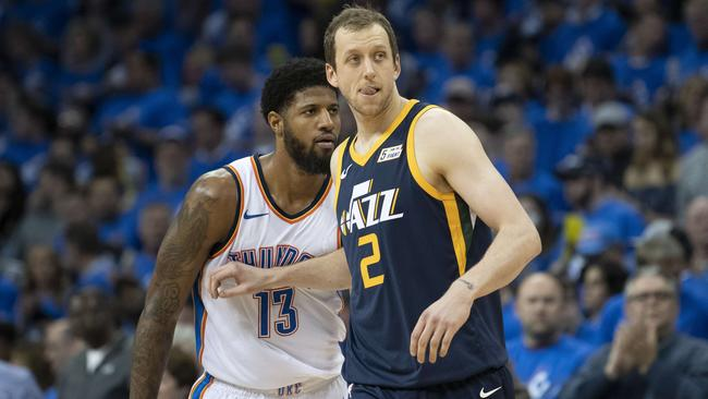 Thunder star Paul George locked down Aussie Joe Ingles. Picture: Getty Images/AFP
