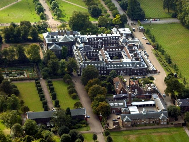 An aerial view of Kensington Palace, where Harry and Meghan have set up home.