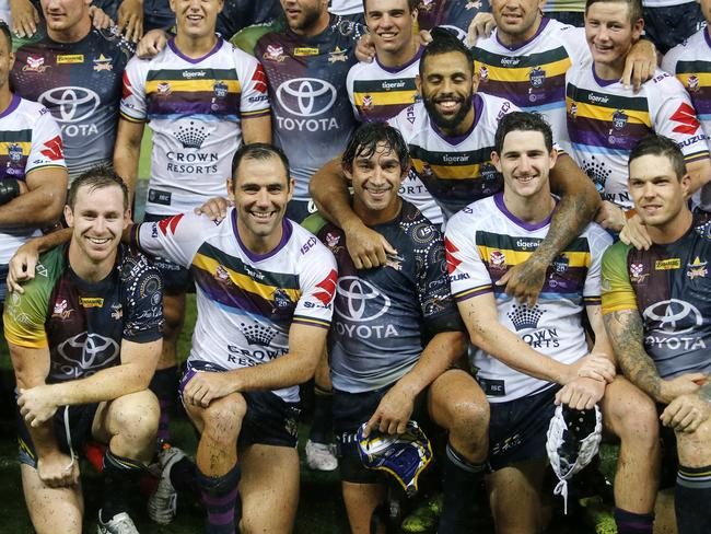 Cameron Smith and Johnathan Thurston with their teams pictured at the Testimonial Match.