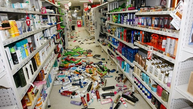 Priceline Pharmacy in Moe after a 5.4 magnitude earthquake in Victoria's Latrobe Valley, June 2012.
