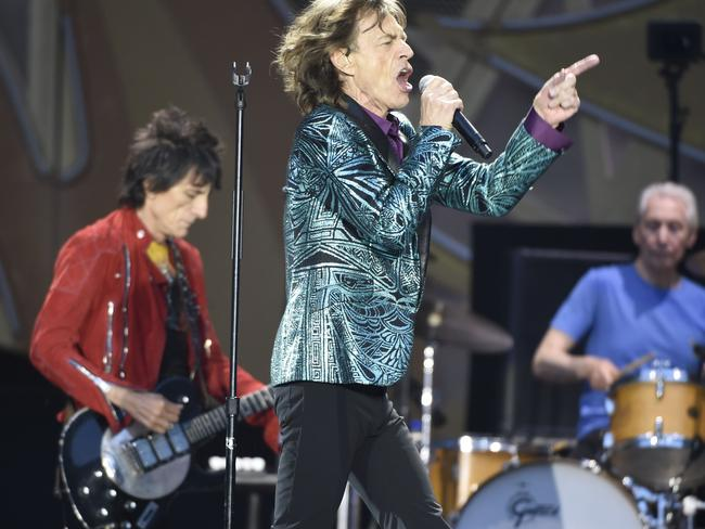 On stage ... and on fire ... The Rolling Stones perform in Paris in June Picture: AFP