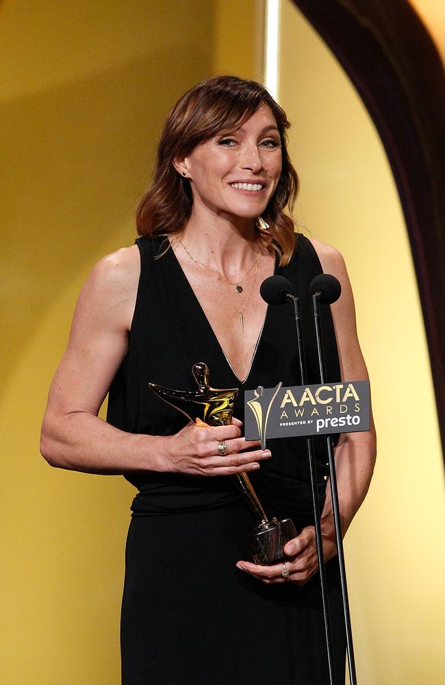 Claudia Karvan poses with the AACTA Subscription Television 20th Anniversary Award for Best Drama during the 5th AACTA Awards Presented by Presto at The Star on December 9, 2015 in Sydney, Australia. Picture: Getty