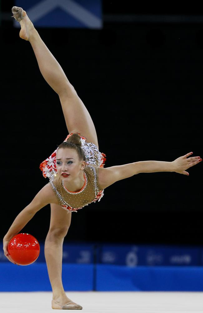 Gold medallist Patricia Bezzoubenko of Canada performs in the Individual Ball final.