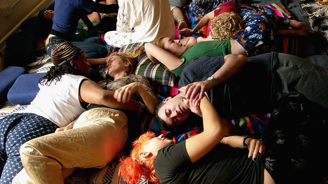 A cuddle party in New York in 2004. Picture: AFP