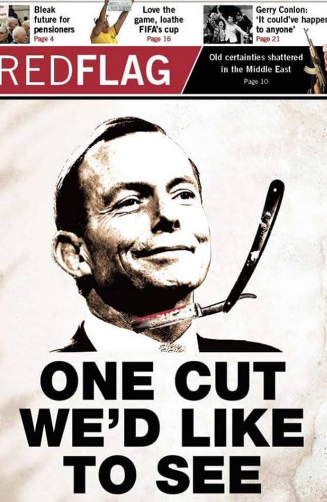 The front page of Socialist Alternative newspaper RedFlag showing Tony Abbott. Source: Facebook.