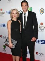 Ruby Osman Mulraney and Nathan Coulter Nile on the red carpet arriving at the 2014 Allan Border Medal held at Doltone House at Hyde Park.