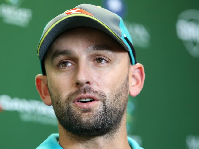 Australian Cricket player Nathan Lyon talks to the media during an Australian cricket team press conference at the BUPB National cricket center in Brisbane, Monday November 20, 2017. Australia will take on England on Thursday in game one of the Ashes series at the Gabba in Brisbane.  (AAP Image/Jono Searle) NO ARCHIVING