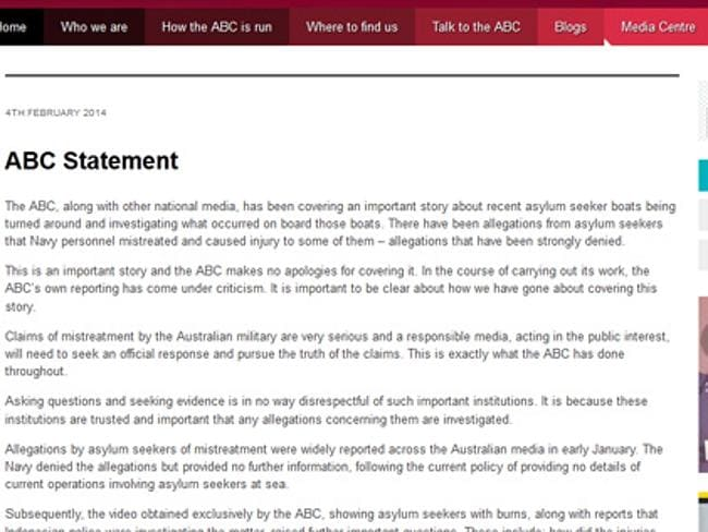The statement on the ABC website.