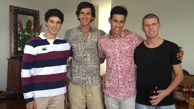 Ashton Agar and his brothers Will (right), Wes and an unknown friend. Picture: Facebook