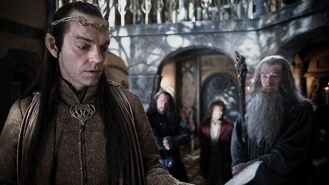 (From left) Hugo Weaving as Elrond, Richard Armitage as Thorin Oakenshield, Martin Freeman as Bilbo Baggins and Ian McKellen as Gandalf in the fantasy adventure The Hobbit: An Unexpected Journey.