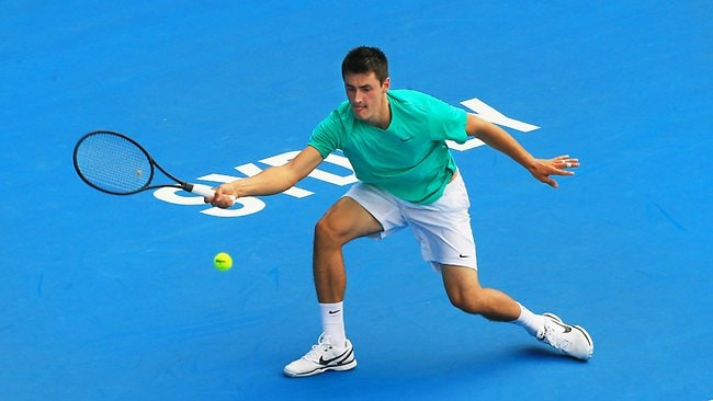 Bernard Tomic moved closer to his first ATP title with a quarter-final triumph over Florian Mayer in Sydney. Picture: Mark Evans