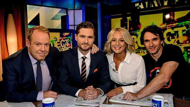 Charlie Pickering, second from left, with Peter Helliar, Carrie Bickmore and Todd Sampson