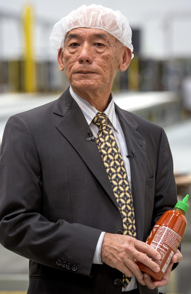 Huy Fong Foods founder David Tran with his famous hot sauce. AP Photo/San Gabriel Valley Tribune, Leo Jarzomb