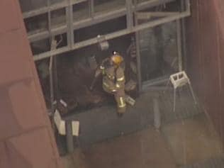 Helicopter pictures of the Shadowfax Winery fire in Werribee. Picture: Channel 9.