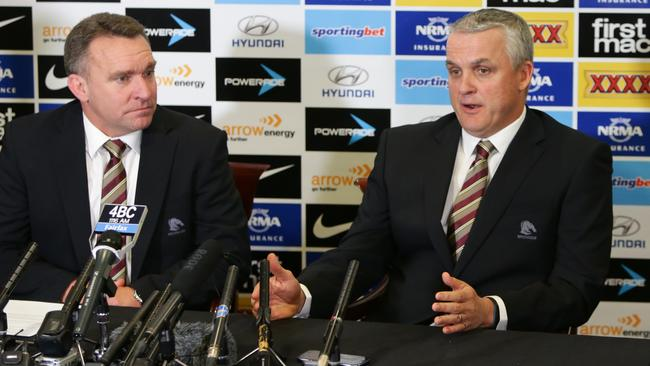 CEO Paul White with Coach Anthony Griffin, announcing the signing of Wayne Bennett as coach of the Brisbane Broncos for the 2015 season.