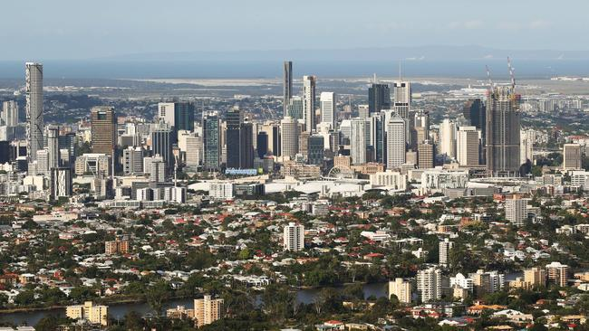 Brisbane City with North Stradbroke Island in the background.