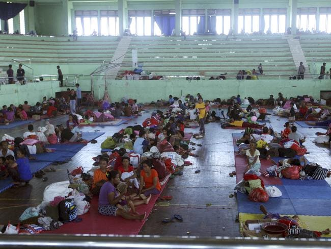 Villagers rest at a temporary shelter in Klungkung, Bali, Indonesia. Picture: AP