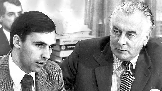 Prime Minister Gough Whitlam (right) with Paul Keating in 1974. Whitlam signed Australia up to the nuclear non-proliferation treaty