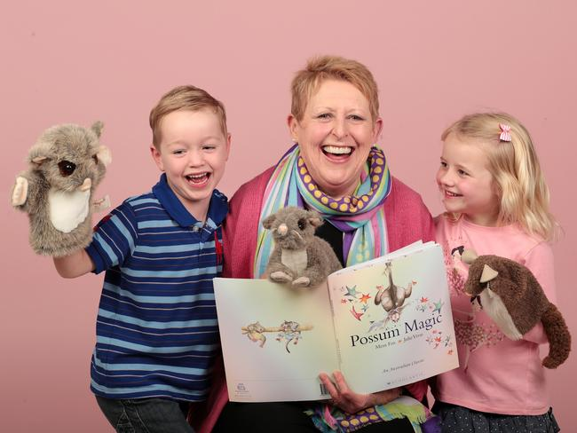 Mem Fox reading Possum Magic to Mitchell Forde, 5, and Grace Peel, 5. Picture: Dylan Coker