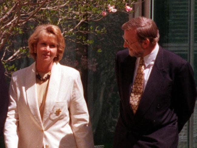 Australian politicians Cheryl Kernot and Gareth Evans struck up a five-year affair while they were in parliament in the 1990s. Picture: Graham Tidy/Canberra Times