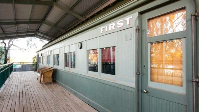 There are two-bedrooms inside the renovated Red Cliffs train carriage. Picture: realestate.com.au