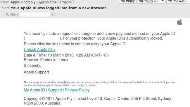 The email a phishing scam that is using Apple branding to try and deceive victims. Picture: MailGuard